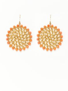Coral & Gold Filigree Disc Drop Earrings by KEP