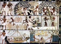 Pintura egipcia.  Primeras civilizaciones, Antiguo Egipto.  Muestran escenas de la vida cotidiana de aquella época.