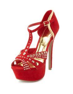 Studded Velvet T-Strap Pump: Charlotte Russe Studs And Spikes, Red High Heels, T Strap, Charlotte Russe, Peep Toe, Velvet, Pumps, Sandals, Beauty