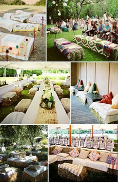 Straw Bale Wedding Seating - Montana Wedding Ideas