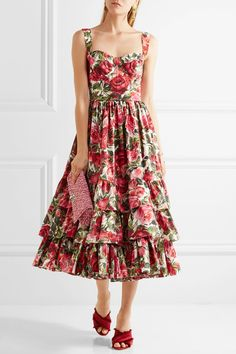 Dolce & Gabbana | Ruffled floral-print cotton-poplin dress | NET-A-PORTER.COM
