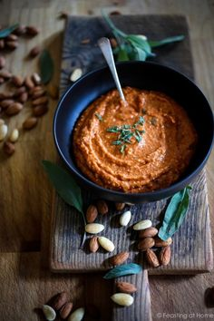 A delicious recipe for Romesco Sauce. Serve it with Roasted Cauliflower Steaks, roasted Potatoes, or Oven baked ricotta Meatballs! EASY & flavorful! GF, Vegan | www.feastingathome.com