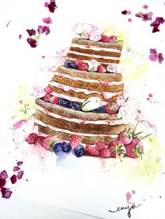 Dessert Illustration, Wedding Illustration, Watercolor Illustration, Cake Drawing, Cake Templates, Sketch Markers, Good Enough To Eat, Decoupage Paper, Food Illustrations