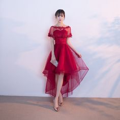 Toast service bride short before the long 2017 new wedding dress summer repair body red party evening dress short paragraph female