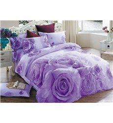 Purple Bedding Set Brilliant Purple Rose Print Cotton Floral Duvet Co 3d Bedding, Satin Bedding, Floral Bedding, Luxury Bedding, Comforter Cover, Comforter Sets, Duvet Cover Sets, Purple Bedding Sets, Purple Bedrooms