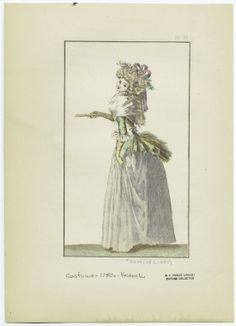 [Woman in dress, France, 1780s.]