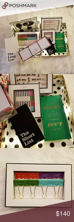 Huge kate spade office bundle So many kate spade goodies!  Lot includes 3 notebooks, bow push pins, erasers, 2 packs of binder clips, bookmarks, sticky note station, and a cute floral box to hold it all! kate spade Accessories