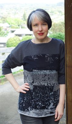 Finished my Vogue 8877 knit top with fabrics from Smuggler's Daughter. #sewvegan