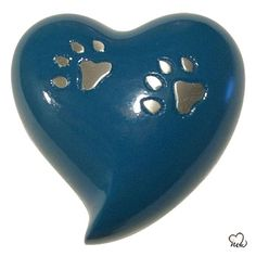 Blue Paw Inlaid Pet Cremation Urn For Ashes Pet Cremation Urns, Cremation Ashes, Engraved Plates, Keepsake Urns, Pet Ashes, Memorial Urns, Pet Urns, Heart Shapes, Pets