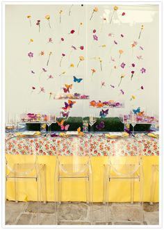 bright, colorful and floral tablescape