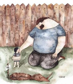 The Love Between Dads And Their Little Girls In Heartwarming Illustrations By Ukrainian Artist - U Wanna Know What? Father And Daughter Love, Father Daughter Relationship, Daddy Daughter, Watercolor Sketch, Watercolor Illustration, Family Illustration, Illustrators On Instagram, Art Drawings, Little Girls
