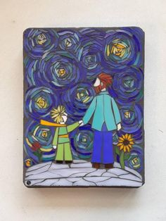 Mosaic Wall Art, The Little Prince with Van Gogh on a Starry Night, Glass on Wood Panel, Impressionist Style, Original Artwork inches) Mosaic Wall Art, Mosaic Glass, Glass Art, Mosaic Mirrors, Sea Glass, Starry Night Original, Starry Night Art, Van Gogh, Mosaic Portrait