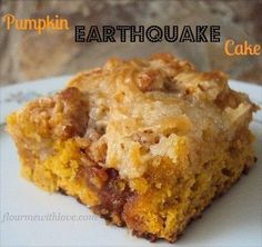 Pumpkin Earthquake cake is made with creamy pumpkin, butterscotch and a swirl of sweetened cream cheese. All baked into one simple & delicious cake!