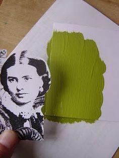 Transférer une photocopie avec de la peinture acrylique. (http://techniquezone.blogspot.com/2008/08/acrylic-paint-transfer.html)