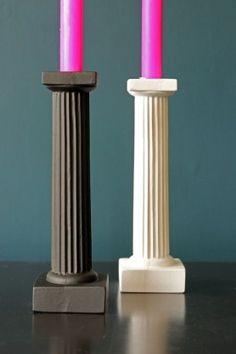 Roman Column Candle Holder  - WHITE