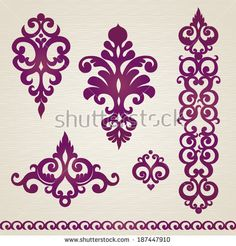 Vector set with classical ornament in Victorian style. Ornate element for design. Frames and vignettes for your text. Pattern for wedding invitations, greeting cards. Stencil Designs, Applique Designs, Embroidery Designs, Free Vector Graphics, Corner Designs, Victorian Fashion, Illustration, Stencils, Pattern