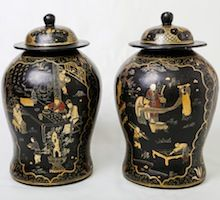Rare pair of black Lacquer Ginger Jars from the Shanxi province in Northern China.  Visit our online showroom for this and other items.