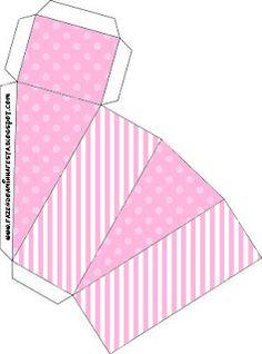 Poá e Listra Rosa – Kit Completo com molduras para convites, rótulos para guloseimas, lembrancinhas e imagens!  Fazendo a Nossa Festa