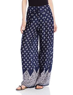 Band of Gypsies Womens Printed Wide Leg Pant NavyWhite Small >>> Want additional info? Click on the image.(This is an Amazon affiliate link)