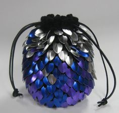 Black goes so well with this!    Scalemail Dice Bag of Holding in knitted Dragonhide Armor custom for Neikedjour