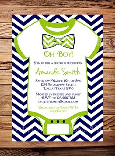 Onesie baby shower Invitation boy, Oh Baby Bow Tie Baby Boy Shower, Navy, Green, Red, Blue, Black, Chevron Stripes Bow Tie Baby Boy Shower on Etsy, $21.00