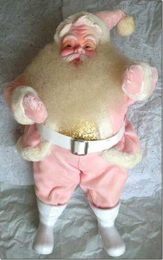 Vintage 1950s Pink Velvet Santa Claus Doll
