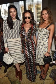 Liu Wen, Maggie Q and Jessica Alba at @ToryBurch's RTW Spring 2016. [Photo: Steve Eichner]