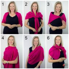6 Ways to Wear a Pashmina Wrap Over an Evening Dress how to wear and tie a pashmina shawl for a more formal occasion Ways To Tie Scarves, Ways To Wear A Scarf, How To Wear Leggings, How To Wear Scarves, How To Wear Pashmina, Pashmina Wrap, Outfits Dress, Fashion Outfits, Fashion Scarves