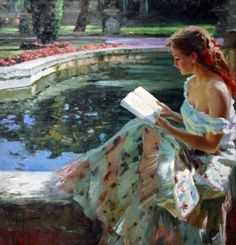 Reading--this is just such a pretty painting.  Plus I totally love her skirt!  [Vladimir Volegov]