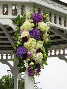 Gazebo arrangement of purple and white hydrangeas Purple Hydrangea Wedding, Wedding Flowers, White Hydrangeas, Wedding Decorations, Wedding Ideas, Flower Arrangements, Gazebo, Floral Wreath, September