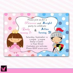 Personalized Knight Fairy Princess Girl Boy Birthday Party Invitations Printable or Printed Costume Crown Castle Pink Custom Polka Dots on Etsy, $12.99