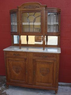 Antique Furniture French Antique Carved Buffet Hutch Marble Top Cabinet Server Sideboard
