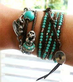 1001 ways to dress up your dragon.    Boho: Faerybeads Aether dragon lock on a braided leather with natural turquoise and Trollbeads Bead of Fortune silver, Macrow turquoise glass bead, Chan Luu Turquoise and Silver wrap bracelet. -- I want that dragon!