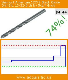 Vermont American 12272 Black Oxide Drill Bit, 13/32-Inch by 5-1/4-Inch (Tools & Home Improvement). Drop 74%! Current price $4.44, the previous price was $16.84. http://www.adquisitio.us/vermont-american/12272-black-oxide-drill