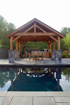 This post and beam pavilion is ready to take center stage as the summer season will soon be upon us.  Set adjacent to a gorgeous Yankee Barn home in the Catskills of New York, the tiered patios, po...