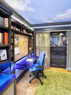 Marvelous Bedroom Ideas For 11 Year Old Boy   Inspiring Tween Boy Bedroom Ideas With Cool Design : Cool Teen Boys Bedroom  With Cork Board At Desk, Wall And Ceiling Murals Also Green Grass Carpet