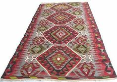 Vintage Destressed ushak Vivid Stylish Turkish Kilim Carpet Rug 10'X 5'