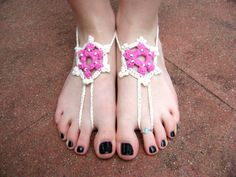 Crocheted Barefoot Sandals  Handmade for You by sheilalikestoknit, $15.00