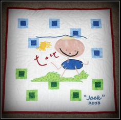"Child's drawing appliqued on mini quilt.  (When I left for Space Station in May, my son was drawing only lines, circles, and squiggles. When I returned in November, he was drawing people.  He told me this picture is ""Jack playing in the grass on a sunny day"".  I decided to preserve it in the form of a mini quilt. KN)"