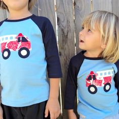Boys Birthday shirt FIRETRUCK Personalized  by sweet3leafprints, $26.00