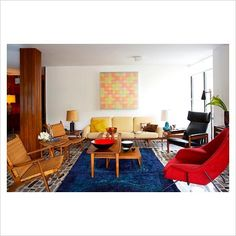 Colourful modern living room with retro furniture