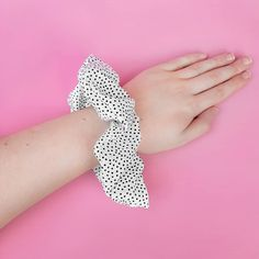 B&W Polka Dot Scrunchie from the Autumn & Belle Signature Scrunchie Collection