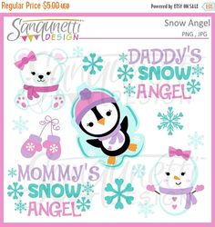 HALLOWEEN SALE Winter Snow Angel Clipart by SanqunettiDesigns