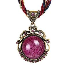 Cyber Monday Deals Week-Valentoria bohemian Jewelry Vintage Style Tibet Round Purple Pendant Chain Necklace Gifts for Women Christmas Gifts(B1) ** Check out the image by visiting the link.