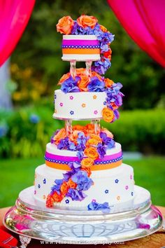 One of the most festive and colorful wedding cakes we've seen!