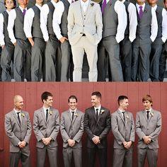 bride in ivory bridesmaids purple groom in black groomsmen in grey | Bride with a Twist: Groomsmen Style