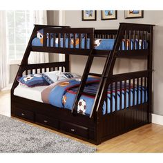 Solid Pine Espresso Twin-over-full Bunk Bed with Three Drawers - Overstock Shopping - Great Deals on Kids' Beds