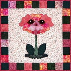 """These whimsical patterns are great for wall hangings, totes, pillowcases, or pick your favorites for a complete flower garden quilt. Each block finishes at 18"""" square."""