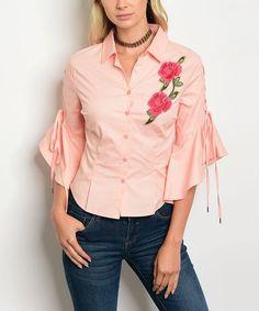Look at this #zulilyfind! Peach Rose Patch Button-Up Top #zulilyfinds
