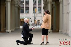 Detroit wedding and proposal photographer: Campus Martius Detroit Proposal (She Said Yes! Detroit)